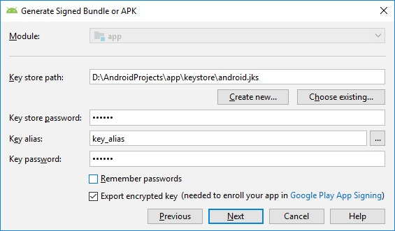 Figure 2 - Select the Export encrypted key option for Android App Deployment