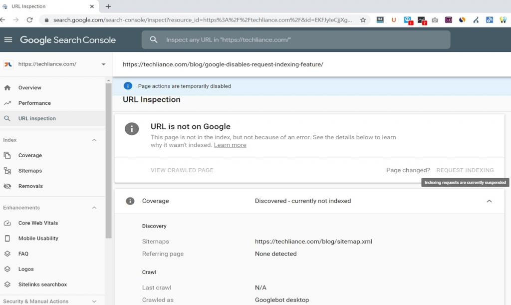 Google Search Console suspends Request Indexing feature under URL Inspection