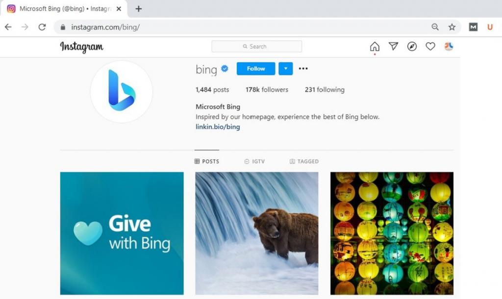 Instagram Profile of Bing after Rebranding to Microsoft Bing