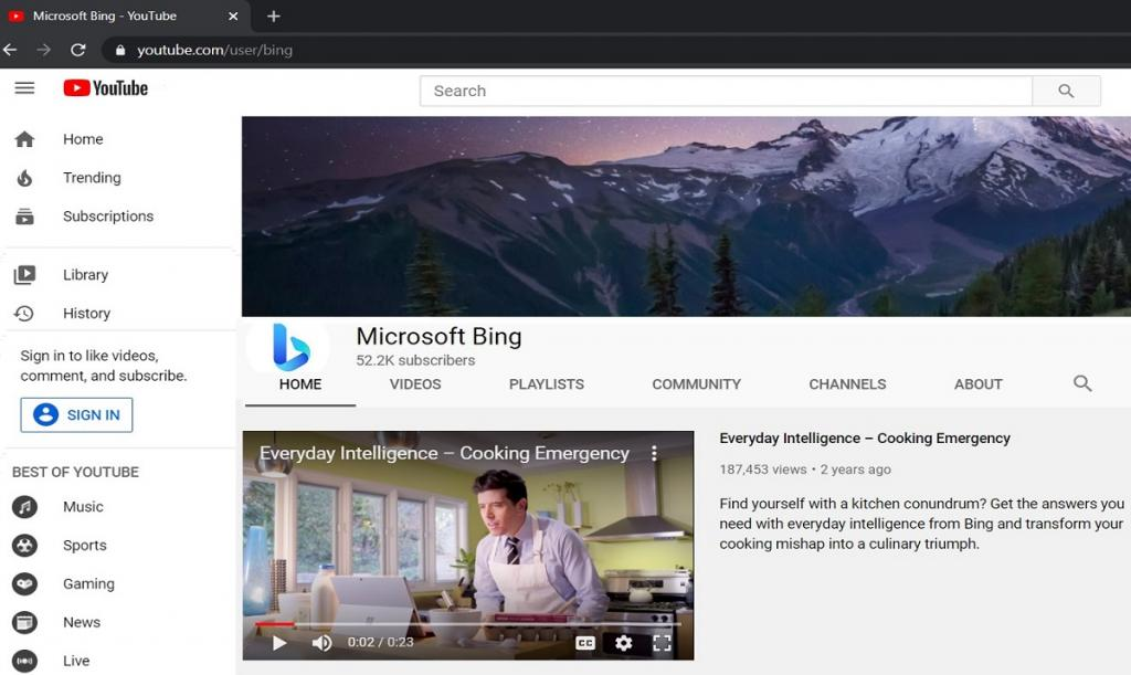 YouTube Profile of Bing after Rebranding to Microsoft Bing