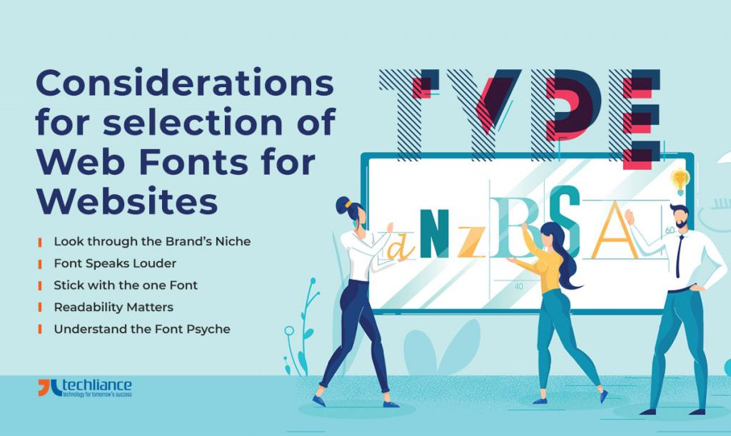 Considerations for selection of Web Fonts for Websites