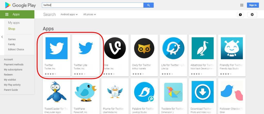 Google Play screenshot showing native Twitter app and Twitter Lite PWA